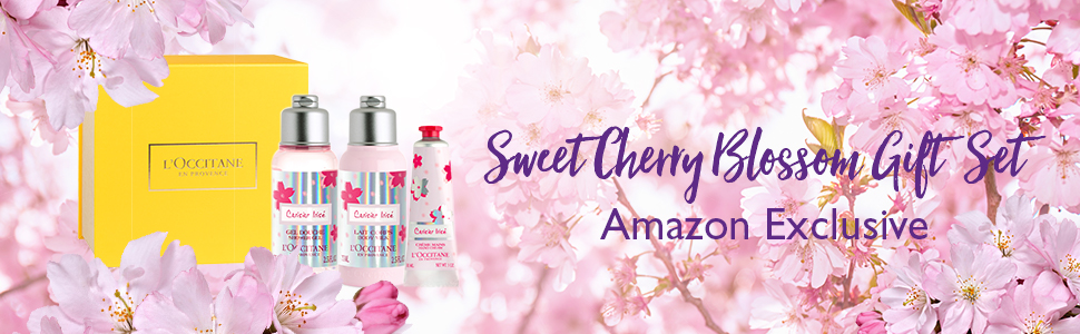 cherry blossom gift set; amazon exclusive;mothers day;gift for women;gift for mother;loccitane gift