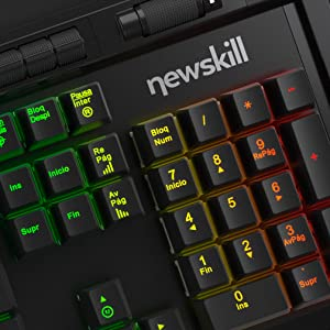 Newskill Aura - Teclado mecánico gaming RGB (Estructura metálica, reposamuñecas removible y retroiluminado, Switch BROWN), negro