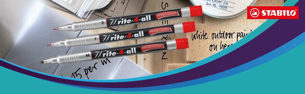 Permanent Marker STABILO fein 4er Pack Permanentmarker Edding Farben Wasserfest