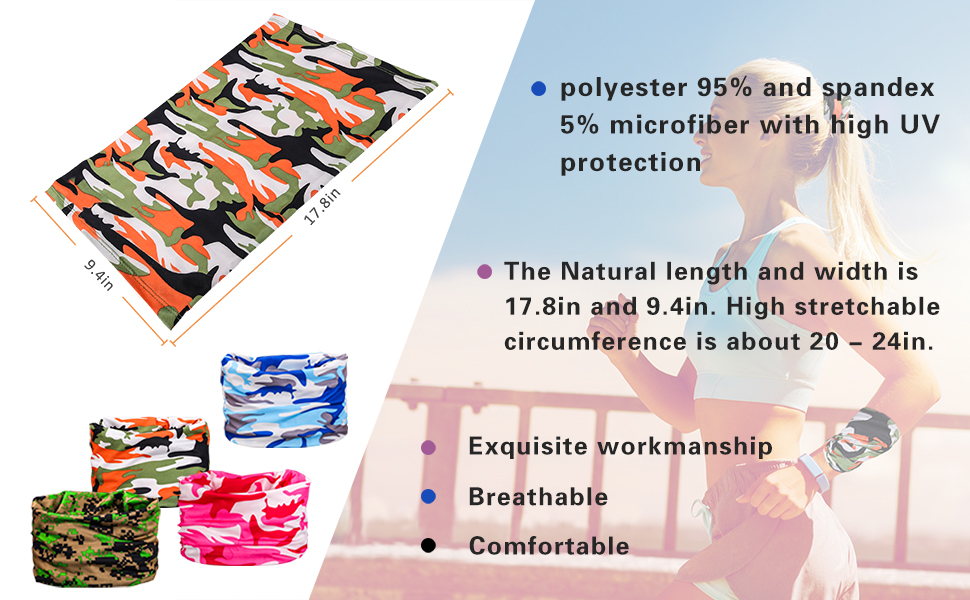 Breathable and comfotable Camouflage Sun UV Protection face mask
