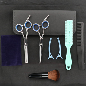 Men's Beard & Mustache Scissors with Genuine Leather Pouch, Comb & Tension Adjustment key. Trimming,
