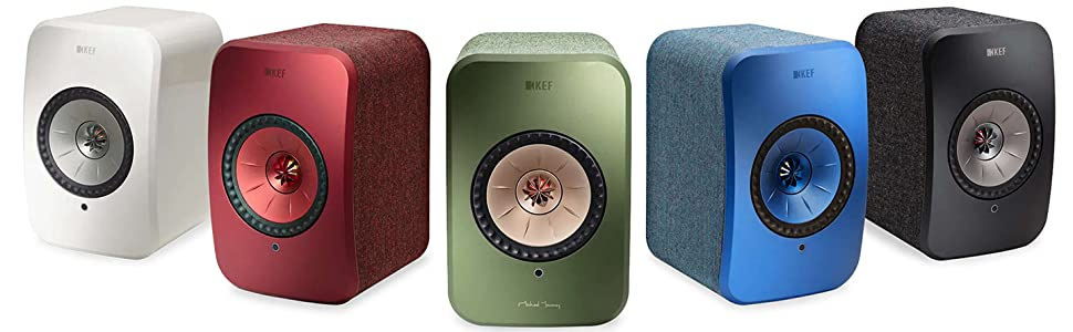 KEF LSX Wireless speakers are available in 5 stunning colors, Gloss White, Red, Green, Blue, Black