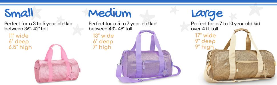 duffle bag sizes; duffel sizes; size chart