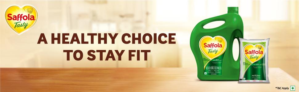 saffola tasty oil,edible oil,saffola tasty pro fitness conscious edible oil,oil pouch,blendedoil