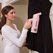 black dress pink steamer