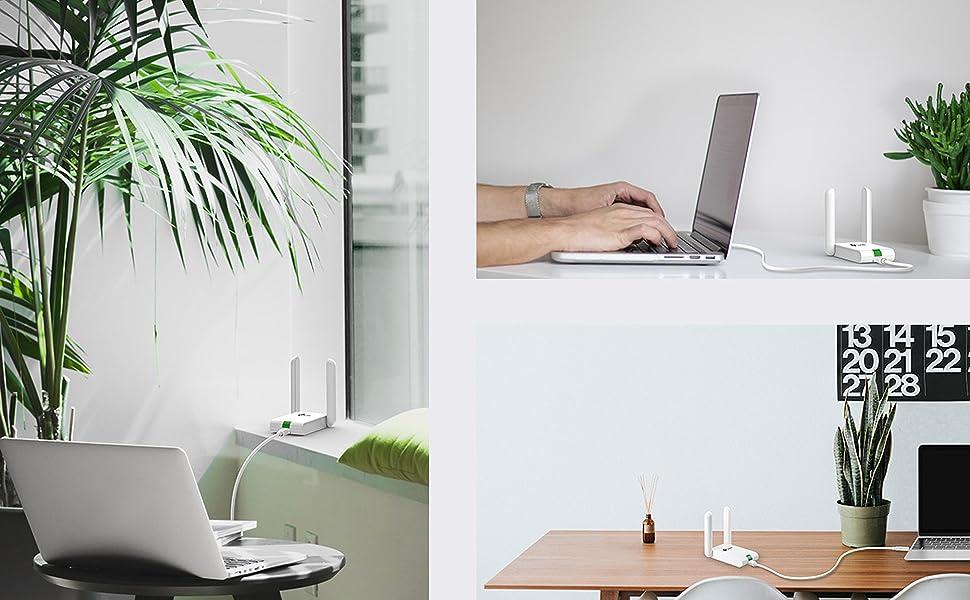 TP-Link Adaptador wifi USB inalámbrico Compatible con Raspberry Pi, N 300Mbps, 2 Antena externas, Cable de extensión USB (TL-WN822N)