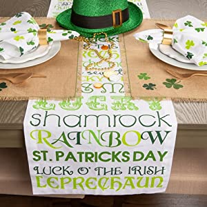 9480001bccc Amazon.com  DII St Patrick s Day Clover Table Runner  Home   Kitchen