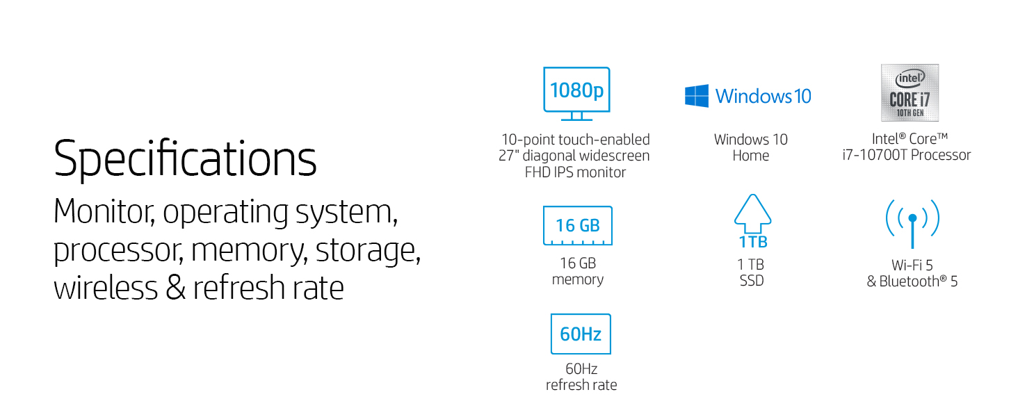 Specifications touchscreen Windows Intel memory hard drive SSD wireless refresh rate