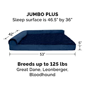dog; cat; bed; sofa; couch; chaise; l shaped; deep sapphire; jumbo plus; giant; xxl