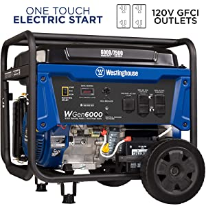 electric start wgen6000 portable westinghouse open frame generator with transfer switch outlet