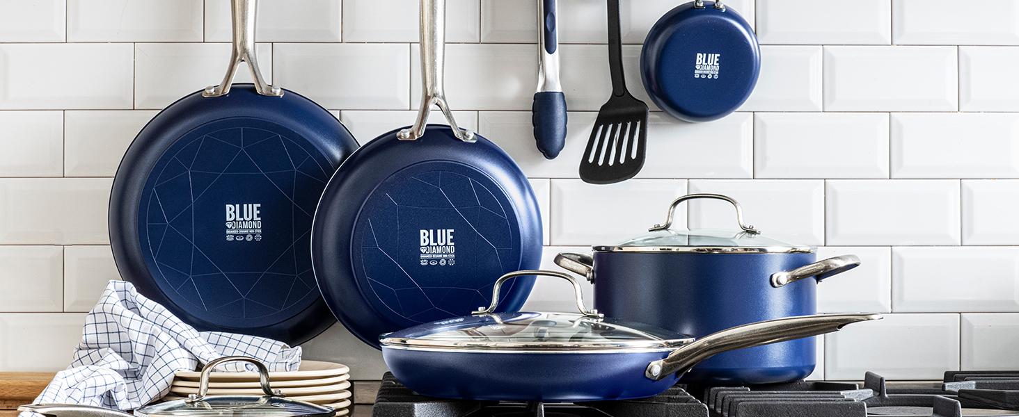 Blue Diamond, Ceramic Nonstick, Cookware Set, frying pan, diamonds, pfas, toxin free, easy to clean