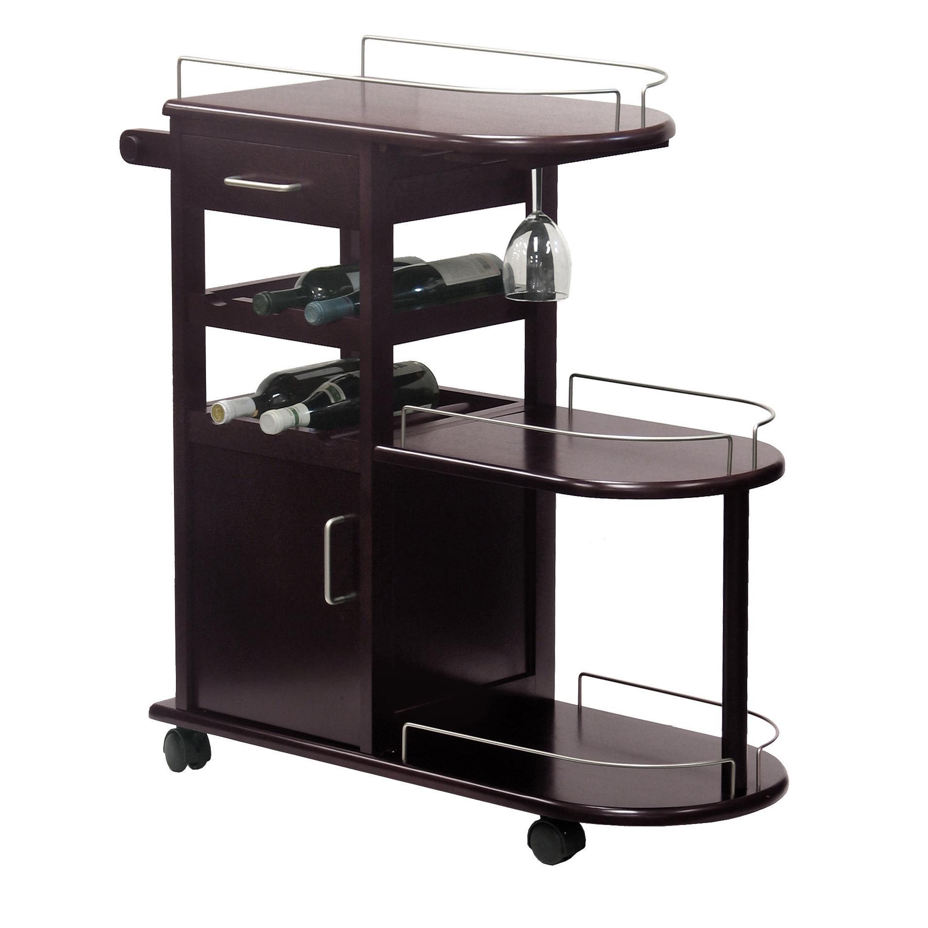 amazon com winsome wood entertainment cart espresso kitchen