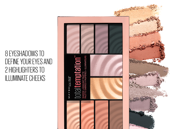 8 eyeshadows to define your eyes and 2 highlighters to illuminate cheeks