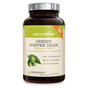 NatureWise Green Coffee Bean 800mg Max Potency Extract 50% Chlorogenic Acids | Raw Green Coffee
