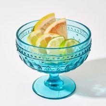 Amazon Com Euro Ceramica Fez Collection Dessert Bowls 13oz Martini Glass Set Of 4 Teardrop Mandala Design Turquoise Wine Glasses