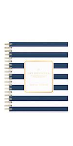 day designer for blue sky, navy stripe collection, 2019 planner, 8x10, hardcover, weekly