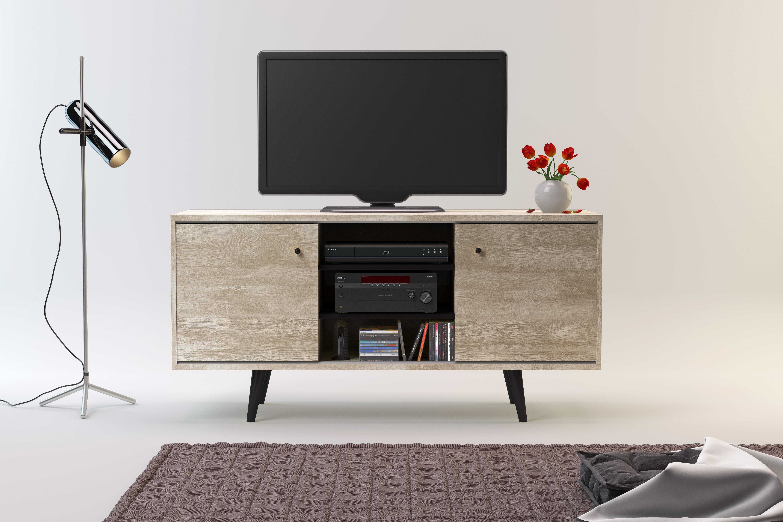Amazon.com: Kevin Marbella Mid-Century 2 Cabinet TV Stand ...