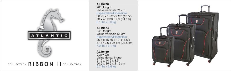 Atlantic Ribbon II, spinner lugaggewheeled luggage, valise de voyage, Spinner Luggage Suitcase