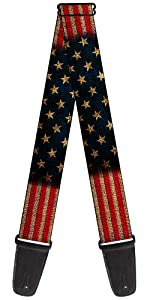 American America Flag US United States Vintage Full Acoustic Electric Guitar Strap Military