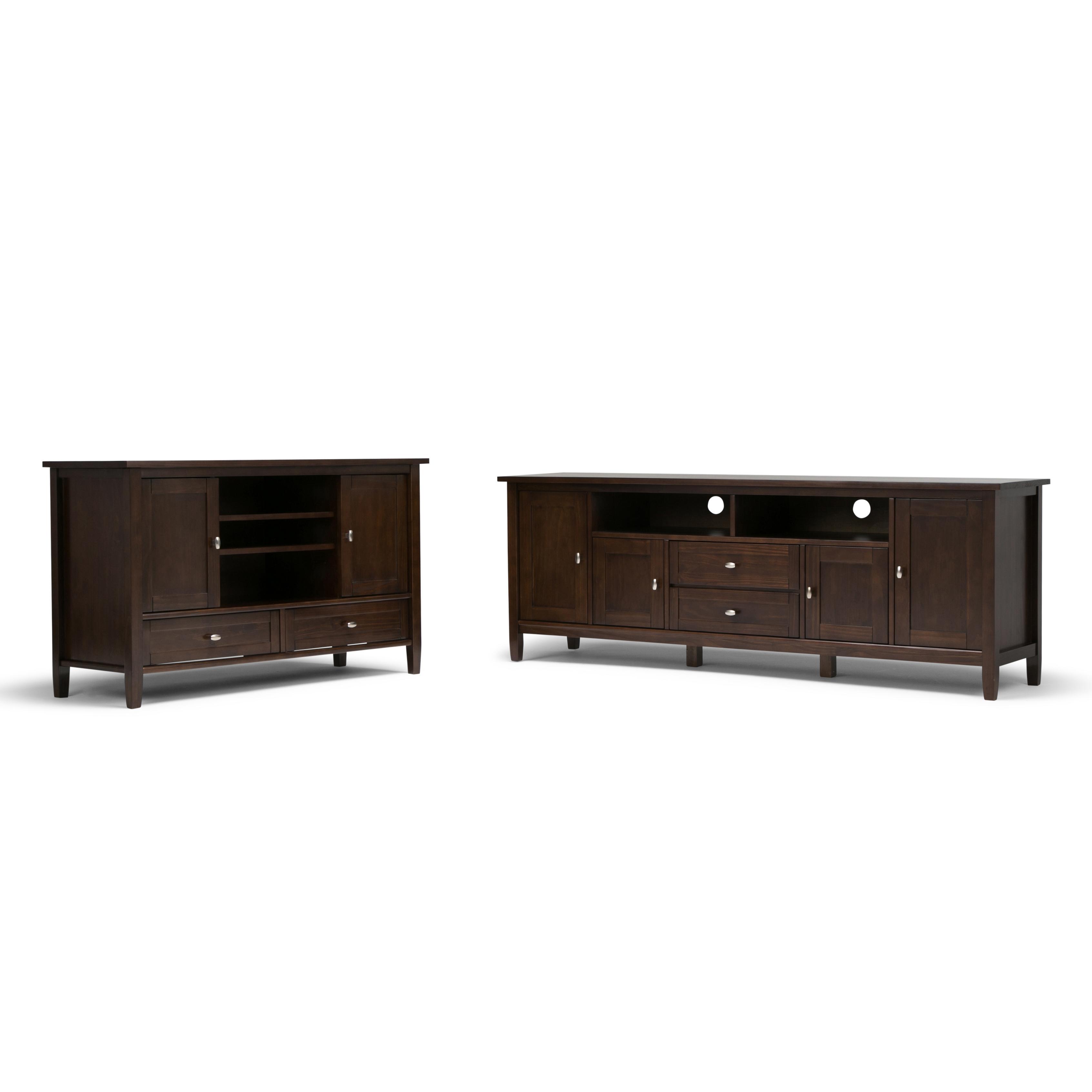simpli home warm shaker 72 tv media stand tobacco brown kitchen dining. Black Bedroom Furniture Sets. Home Design Ideas