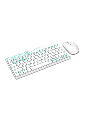 Rapoo 8000 kabellose Tastatur mit Maus, 2,4 GHz Wireless Verbindung, hochauflösende 1000 DPI Technik, weißgrün