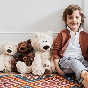 classic modern bears teddy child boy jumbo white beige light brown stuffed animal plush gund soft