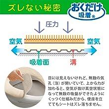 日本製 消臭 洗える サンコー ずれない ふんわりタイプ トイレ 便座カバー 9mm アイボリーおくだけ吸着 KC-70