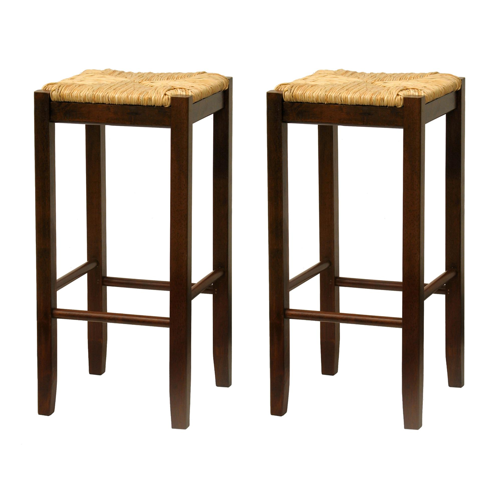 Amazoncom Bar Stool 29 Inch Rush Seat Walnut Finish Set