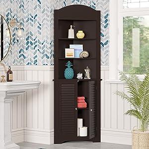 tall corner cabinet brown