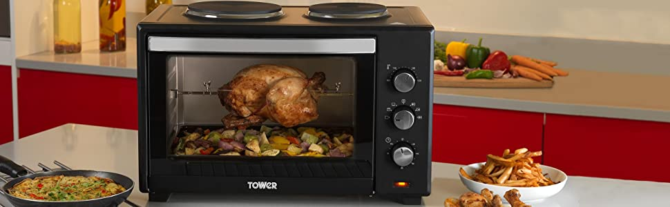 tower t14014 stainless steel mini oven with double. Black Bedroom Furniture Sets. Home Design Ideas