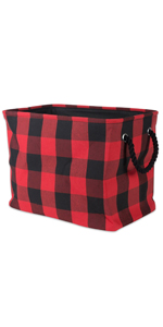 buffalo check storage with handles red and black