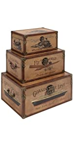 Deco 79 62230 Wood Leather Box