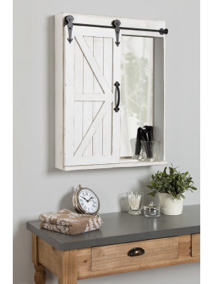 Amazon Com Kate And Laurel Cates Wood Wall Storage Cabinet With Vanity Mirror And Sliding Barn Door Rustic White Home Kitchen