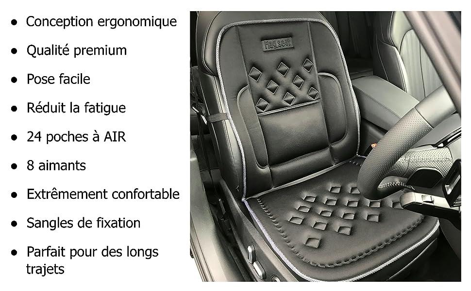 24 Poches Air-Flow Coussin De Support De Si/ège De Voiture Medipaq Arri/ère Et Sur Le C/ôt/é Prend En Charge 8 Aimants