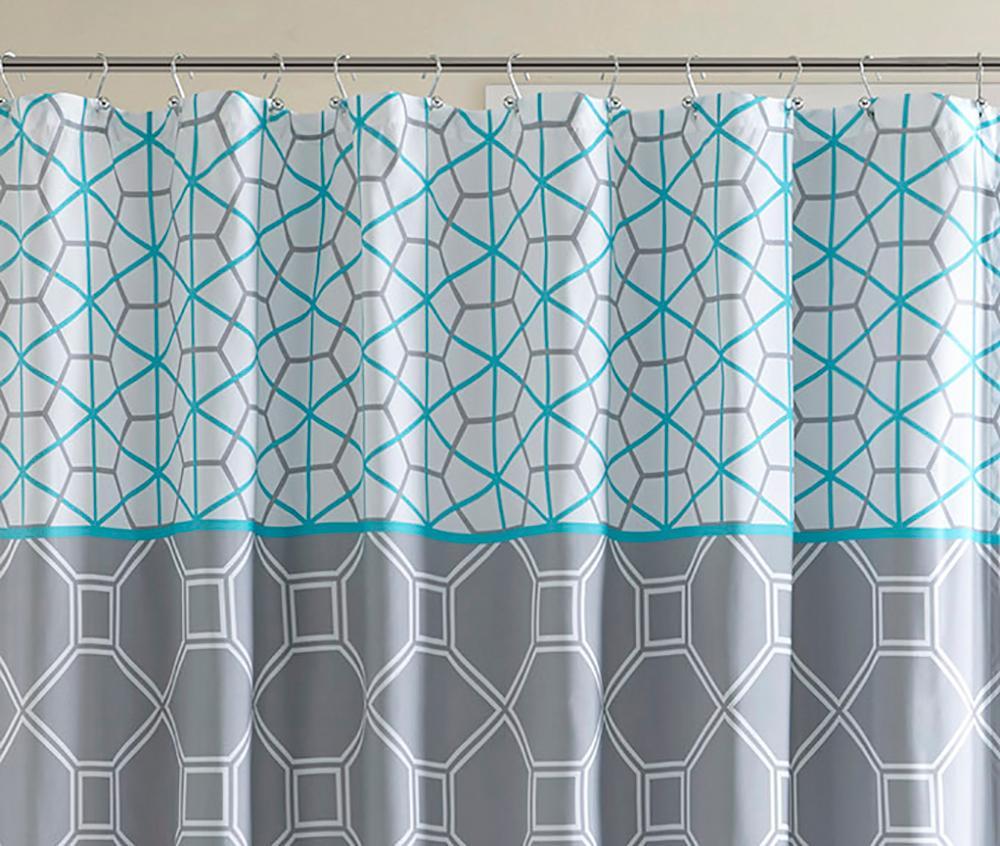 Intelligent design id70 198 clara shower curtain 72 x 72 blue home kitchen - Intelligent shower ...