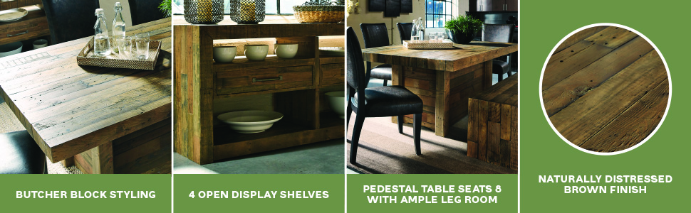 butcher block styling open display pedestal table seats naturally distressed brown finish