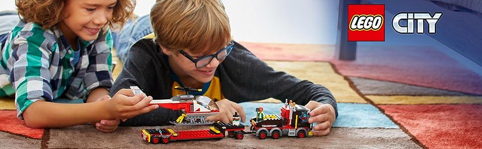 Camion, bambini, costruzioni