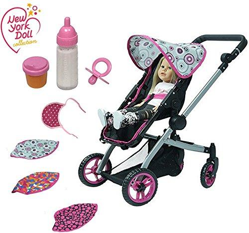 """8-piece Set The New York Doll Collection Deluxe Dolls Stroller Multicolor fit for 18/"""" inch with 3 Interchangeable Hoods and also includes Feeding Set A189"""