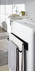山崎実業 洗濯機横マグネットタオルハンガー2段 タワー ブラック 2957