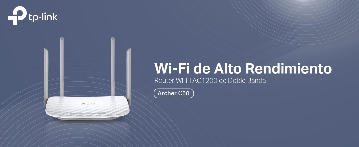 TP-Link Archer C50 - Router wifi de doble banda, 1200 Mbps, 2.4 GHz a 300 Mbps y 5 GHz a 867 Mbps