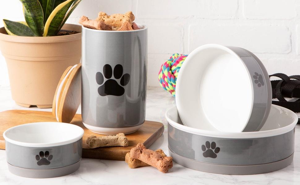 Bone Dry Ceramic Pet Collection Medium Bowl Set Gray Paw 2 Count