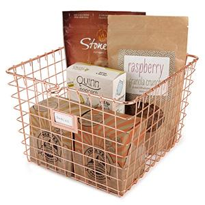 the wire storage basket can be used anywhere throughout the home