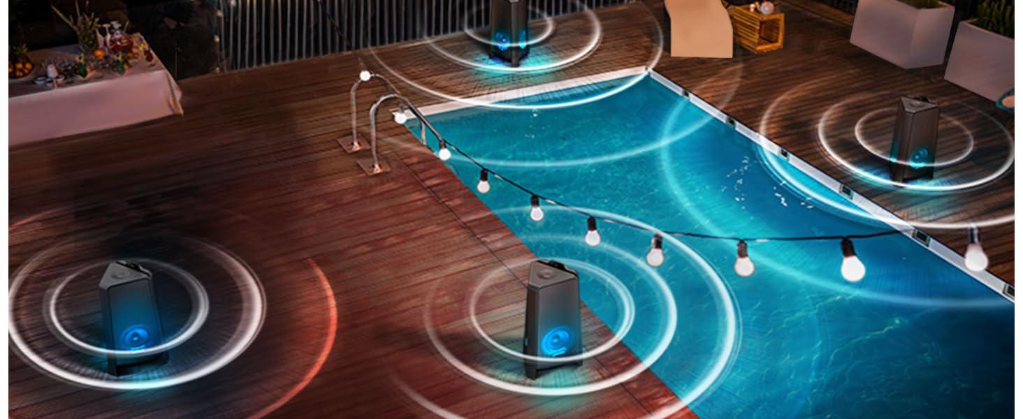 Pool with several Samsung GIGA Party Soundbars