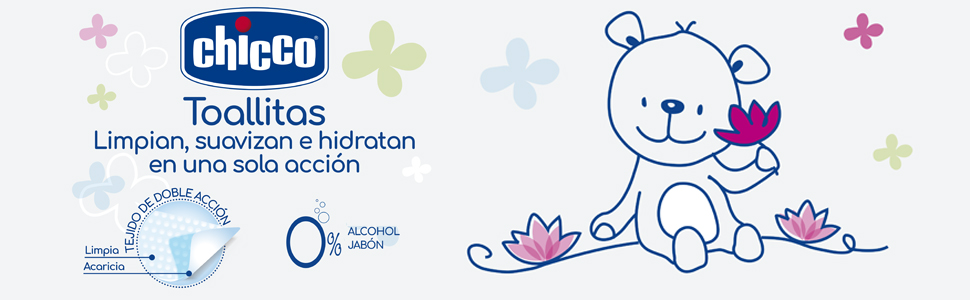 Sin alcohol ni jab/ón Limpian e hidratan la piel del beb/é Chicco Toallitas 12 Packs de 60 unidades con 720 toallitas Natural Sensation Flor de Loto
