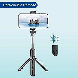 selfie stick with Bluetooth remote