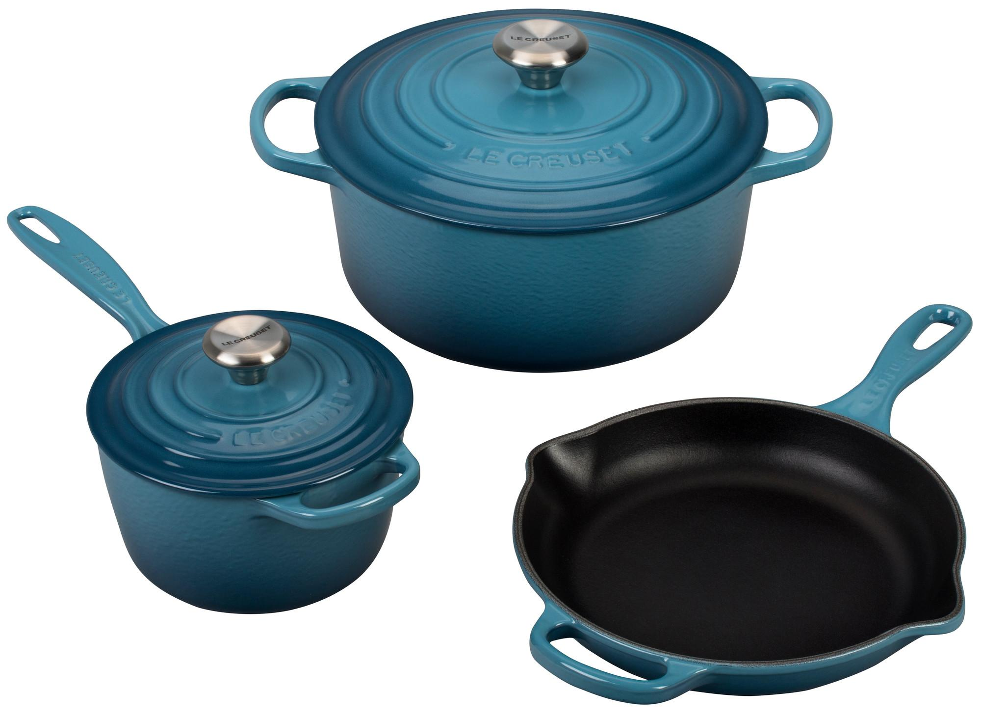 le creuset 5 piece signature enameled cast iron cookware. Black Bedroom Furniture Sets. Home Design Ideas