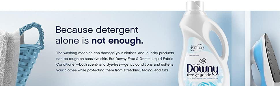 Downy, free and gentle, free & gentle, scent free, dye free, fabric softener, fabric conditioner