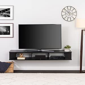 """Prepac 70"""" BCTW-1102-1 Wide Wall Mounted TV Stand, Black"""