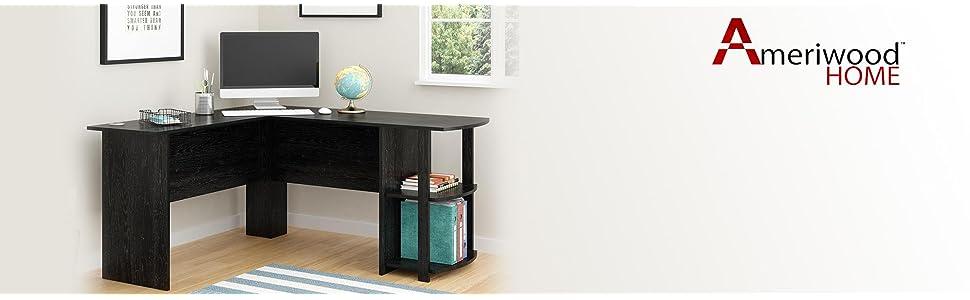 Amazoncom Ameriwood Home Dakota LShaped Desk with Bookshelves