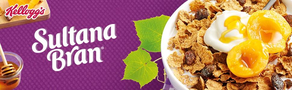 kellogg's sultana bran cereal, apricots, yoghurt, bowl of sultana bran